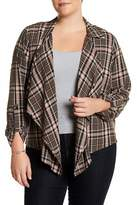 Susina Draped Front Plaid Blouse (Plus Size)
