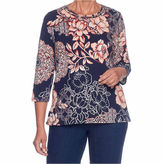 Alfred Dunner Gypsy Moon 3/4 Sleeve Crew Neck Floral T-Shirt-Womens