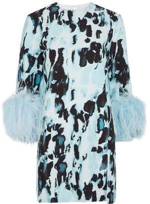 16Arlington 16 Arlington Billie Printed Feather-trimmed Dress