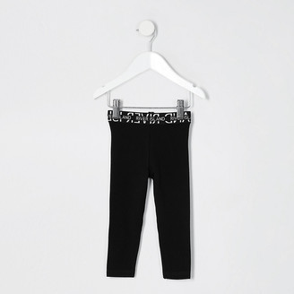 River Island Mini Girls Black RI Waistband Legging