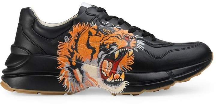 Gucci Rhyton leather sneaker with tiger