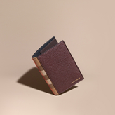 Burberry Leather And House Check Passport And Card Holder, Purple