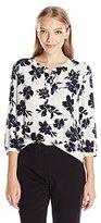NYDJ Women's Petite 3/4 Sleeve Henley Pleat Back Blouse
