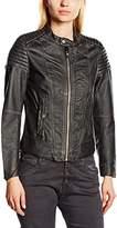 G Star G-STAR Women's leather jacket Raincoat Black Schwarz (black 990)