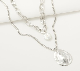 Susan Graver Simulated Pearl & Round Disc Layered Necklace