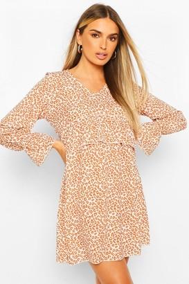 boohoo Leopard Print Ruffle Waist Oversized Smock Dress