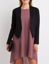 Charlotte Russe Collarless Asymmetrical Cropped Blazer