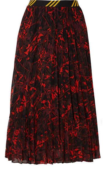 By Malene Birger Okka Pleated Printed Chiffon Midi Skirt - Black