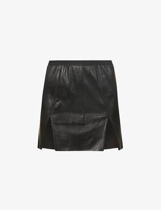 Rick Owens Sacrimini high-waist leather and cotton-blend mini skirt