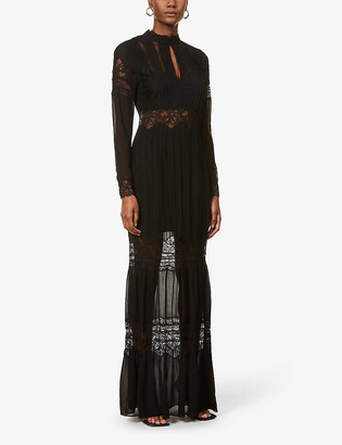 Reiss Miranda floral lace-trimmed crepe maxi dress