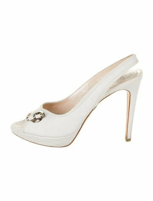 Christian Dior Leather Slingback Pumps White