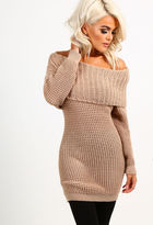 Pink Boutique Mochacino Mocha Knitted Bardot Jumper
