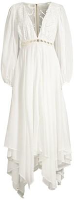 Azulu Tortugas Puff-Sleeve Cotton Eyelet Maxi Dress