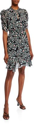 Shoshanna Alexandrine Aria Floral Ruffle Hem Dress