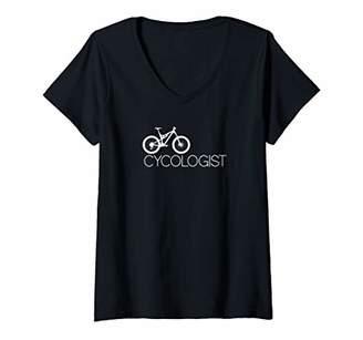 Womens Cycologist Funny Mountain Bike V-Neck T-Shirt
