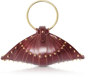 Burgundy Leather Shell Bag w/Studs