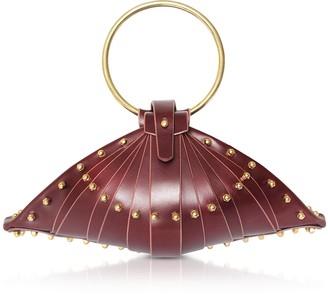 Una Burke Burgundy Leather Shell Bag w/Studs