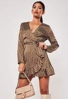 Missguided Chocolate Polka Dot Satin Wrap Dress