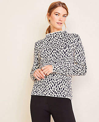 Ann Taylor Petite Cheetah Print Funnel Neck Sweater