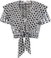 Temperley London Lizette cropped embellished printed cotton-poplin top