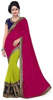 Dancing Girl Green Georgette Embroide Party Wear Saree with Blouse