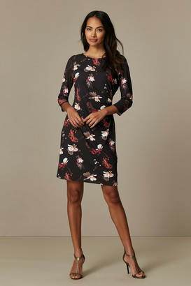 Wallis PETITE Black Floral Ruched Side Shift Dress