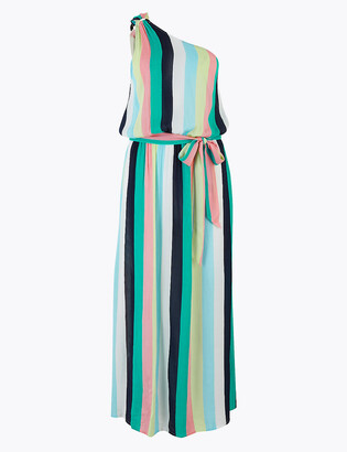 Marks and Spencer Striped One Shoulder Maxi Beach Dress