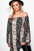 Boohoo Plus Imogen Western Off The Shoulder Top multi