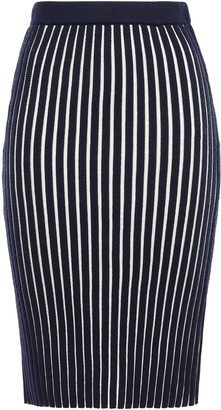 Victoria Victoria Beckham Victoria, Victoria Beckham Striped Ribbed Wool Pencil Skirt