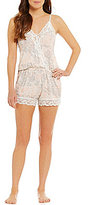 Flora Nikrooz Snuggle Sweet Pea Lace-Trimmed Lounge Romper