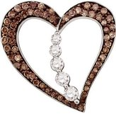 DazzlingRock Collection 0.51 Carat (ctw) 10k White Gold Round & White Diamond Ladies Heart Pendant