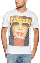 Playboy Men's Print Glasses and Drink T-Shirt,(Manufacturer Size:)