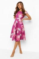 Thumbnail for your product : boohoo Scuba Floral Bardot Midi Skater Dress