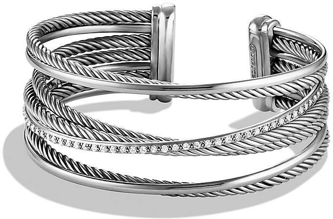 David Yurman Crossover Four-Row Cuff with Diamonds