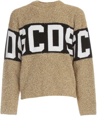 GCDS Logo Lurex Sweater L/s Crew Neck