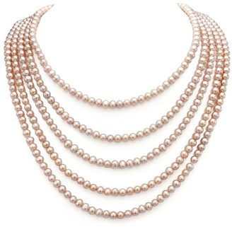 DaVonna Semi-round 5-6mm Pink Freshwater Pearl Endless Necklace
