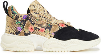 adidas Supercourt Rx Suede And Printed Snake-effect Leather Sneakers