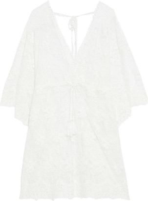 Melissa Odabash Amara Tasseled Embroidered Cotton-blend Tulle Coverup