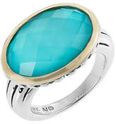 Mother of Pearl Fine Jewellery Blue Quartz and Doublet Two Tone Ring