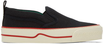 Gucci Black Tennis 1977 Tweed Slip-On Sneakers