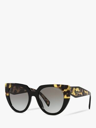 Prada PR 14WS Women's Cat's Eye Sunglasses, Black/Medium Tortoise