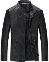 URBANFIND Men's Causal Slim Fit PU Leather Motorcycle Jacket US XL
