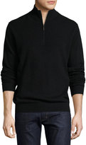 Neiman Marcus Cashmere Zip-Neck Sweater, Black