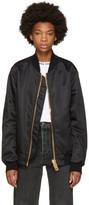 Palm Angels Black Maxi Zip Bomber Jacket