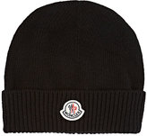 Moncler Men's Stockinette-Stitched Virgin Wool Beanie-BLACK