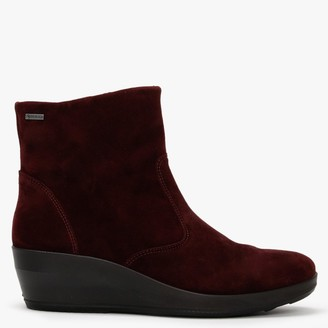 Legero Divine 71 Burgundy Suede Wedge Ankle Boots