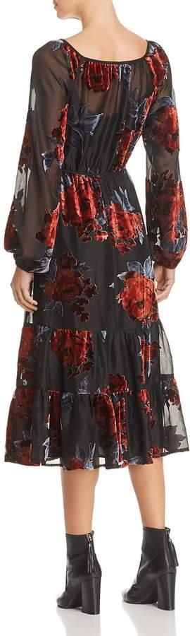 June & Hudson Velvet Floral Burnout Midi Dress - 100% Exclusive
