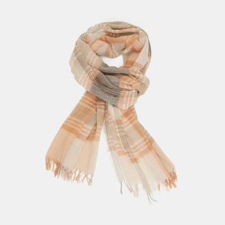 Theory Oversized Fringe Scarf in Plaid Cotton