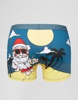 Asos Holidays Trunks With Santa Beach Scene