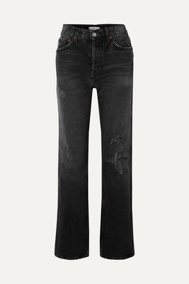 RE/DONE Originals Loose Distressed High-rise Straight-leg Jeans - Black